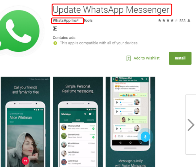 On Google Play, the app looks like the updated WhatsApp App.